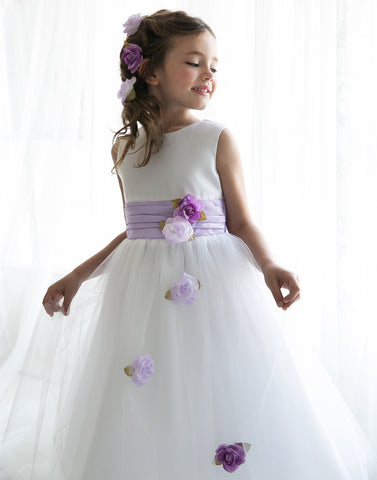 Silky Satin and Sheer Tulle Floral Dress - Lavender