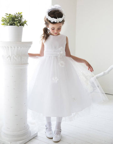 d8842af9bf1 Flower Girl Dress Silky Satin and Sheer Tulle Floral Dress Champagne Party  Dress Special Occasion Dress