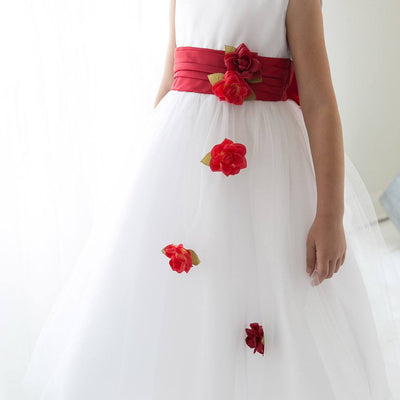 Silky Satin and Sheer Tulle Floral Dress - Red