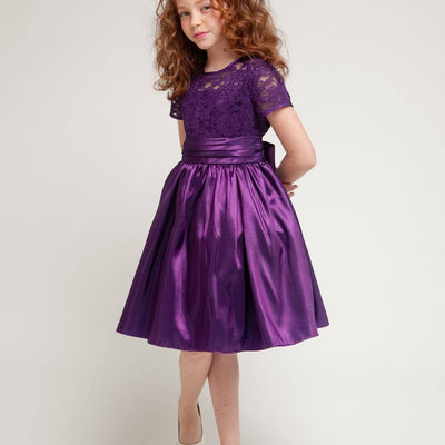 Luring Lace and Glistening Taffeta Knee length Dress - Purple