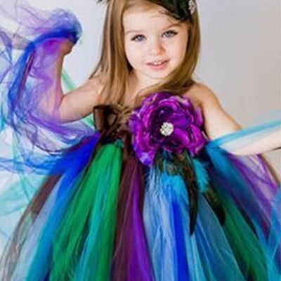 3c84a24af Pretty Peacock One Shoulder Flower Girl Tutu Dress | eFavorMart