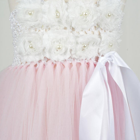 Blossomy Bodice and Pink Sheer Tulle Skirt Dress