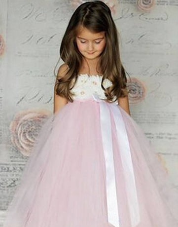 ea9076e9a6 Flower Girl Dress Bodice and Pink Sheer Tulle Skirt Flower Party Dress  Special Occasion Dress