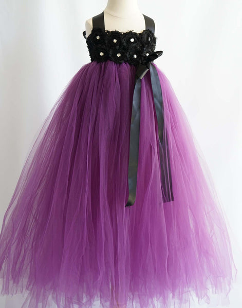 Flower Girl Dress Blossomy Bodice and Plum Purple Sheer Tulle Skirt Party Dress Special Occasion Dress