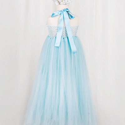 Fantastic Floriated Tulle Dress with Pearl Accents - Light Blue