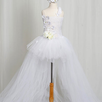 Comely White Crochet Bustle Tutu Dress