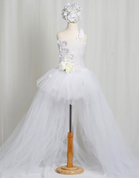 White Crochet Bustle Tutu Flower Girl Wedding Dress Party Dress Special Occasion Dress