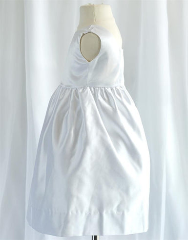 Ivory Sleeveless Satin Flower Girl Dress with Sash