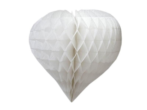 "16"" Heart-Shaped Honeycomb Paper Lantern - White/12pcs"