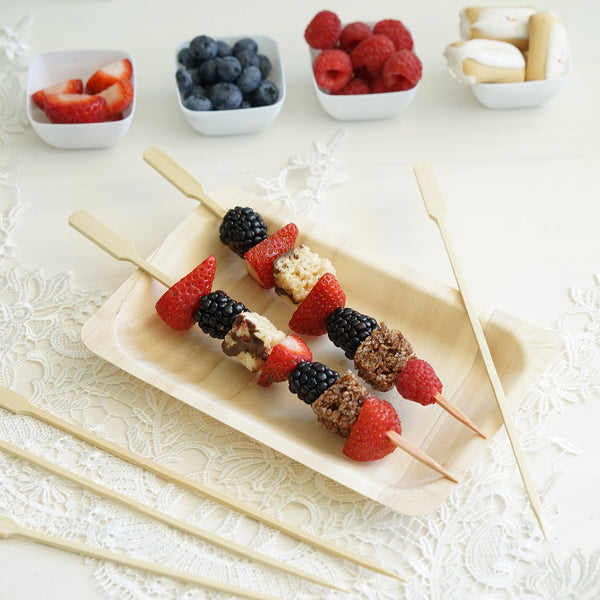 "100 Pack - 10"" Eco Friendly Paddle Party Picks, Bamboo Skewers, Decorative Top Cocktail Sticks"