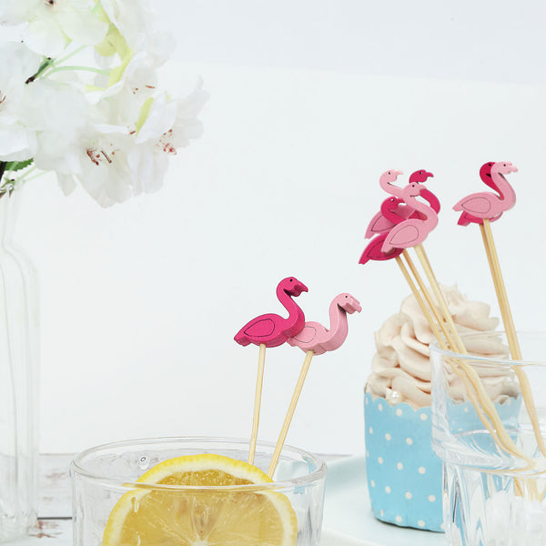 "100 Pack- 5"" Flamingo Party Picks, Bamboo Skewers, Decorative Top Cocktail Sticks - Fushia/Pink"