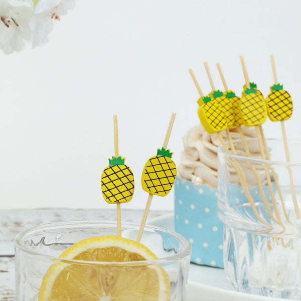 "100 Pack- 5"" Pineapple Party Picks, Bamboo Skewers, Decorative Top Cocktail Sticks"
