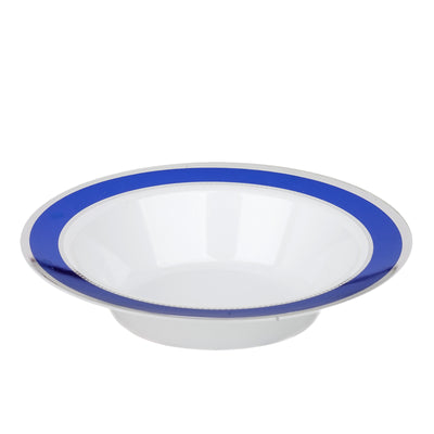 10 Pack | 12 oz Cobalt Blue with Silver Rim Round Disposable Soup Bowl - White