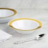 10 Pack | 12 oz Gold with Silver Rim Round Disposable Soup Bowl - White
