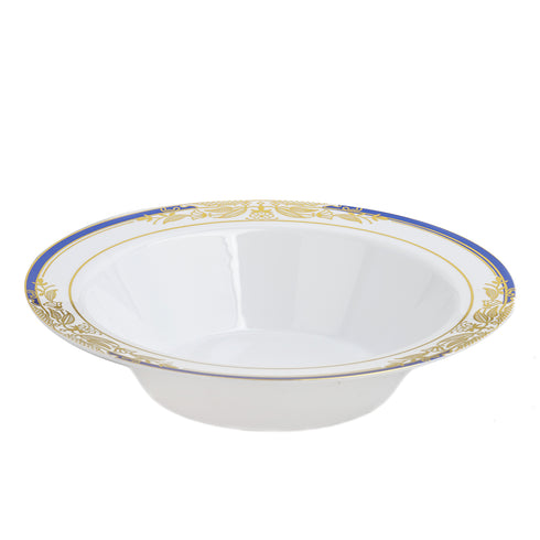 10 Pack | 12 oz Blue Rim Round Disposable Soup Bowl With Gold Vine Design - White