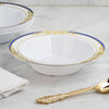 10 Pack | 12 oz Royal Blue Rim Round Disposable Soup Bowl With Gold Vine Design - White