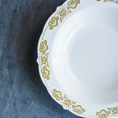 10 Pack | 12 oz Gold Embossed Round Disposable Soup Bowl With Scalloped Edges - White