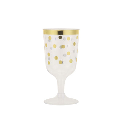 12 Pack 8oz Gold Rim Polka Dots Disposable Champagne Cocktail