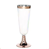 12 Pack - 5 oz Rose Gold Disposable Plastic Champagne Flutes - Rimmed Design with Detachable Base