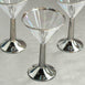 8 Pack | 5 oz 2-Piece Clear Disposable Plastic Martini Cocktail Glasses with Silver Rim and Base