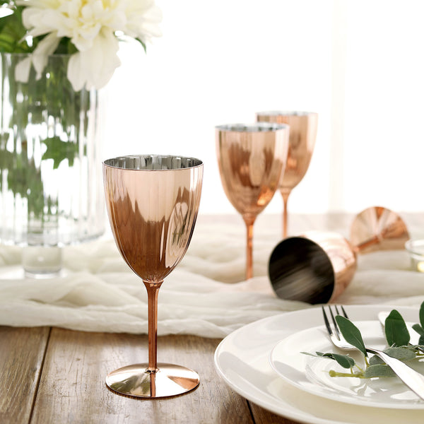 6 Pack | 8 Oz Plastic Wine Glasses, Disposable Wine Goblets - Metallic Rose Gold | Blush