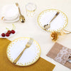 12 Pack | 8 inch Round Disposable Polka Dots Salad Dessert Plates - Gold/White