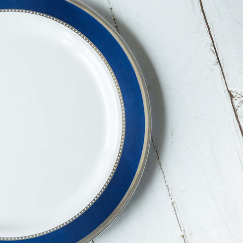 10 Pack | 10 inch Round Royal Blue with Silver Rim Disposable Dinner Plates - White