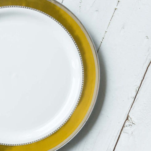 "10 Ct | 10"" Round Gold with Silver Rim Disposable Dinner Plates - White"