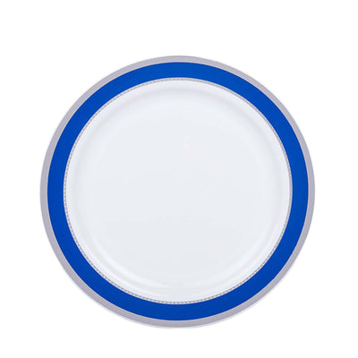 "10 Ct | 7"" Round Cobalt Blue with Silver Rim Disposable Salad Plates - White"