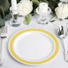 10 Pack | 7 inch Round Gold with Silver Rim Disposable Salad Plates - White