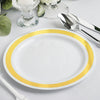 "10 Ct | 7"" Round Gold with Silver Rim Disposable Salad Plates - White"