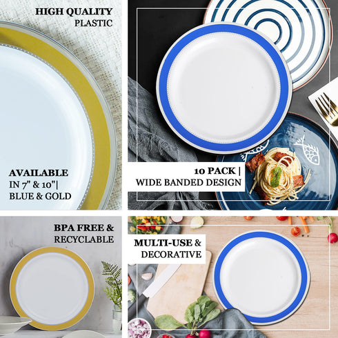 "10 Pack | 10"" Round Royal Blue with Silver Rim Disposable Dinner Plates - White"