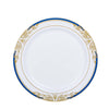 10 Pack | 10 inch Round Royal Blue Rim Disposable Dinner Plates With Gold Vine Design - White