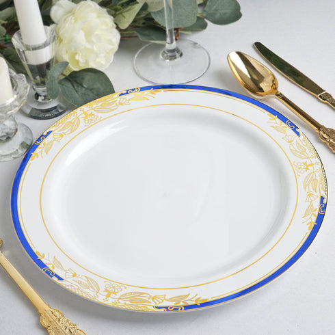 "10 Ct | 8"" Round Royal Blue Rim Disposable Salad Plates With Gold Vine Design - White"