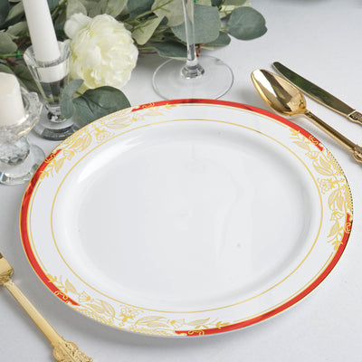 "10 Ct | 10"" Round Red Rim Disposable Dinner Plates With Gold Vine Design - White"
