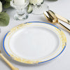 "10 Ct | 8"" Round Cobalt Blue Rim Disposable Salad Plates With Gold Vine Design - White"