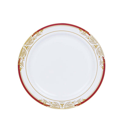 "10 Ct | 8"" Round Red Rim Disposable Salad Plates With Gold Vine Design - White"