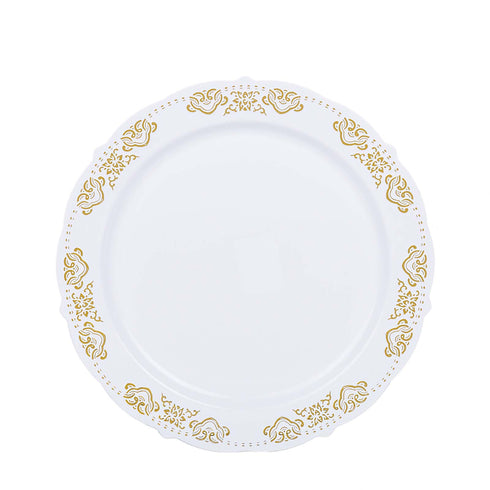 10 Pack | 10 inch Round Gold Embossed Disposable Dinner Plates With Scalloped Edges - White/Gold