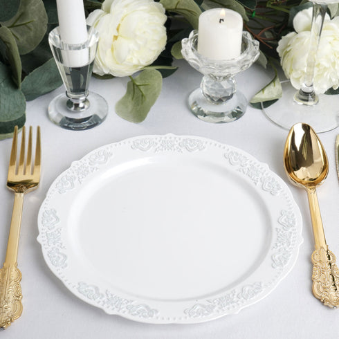 "10 Ct | 8"" Round Silver Embossed Disposable Salad Plates With Scalloped Edges - White/Silver"
