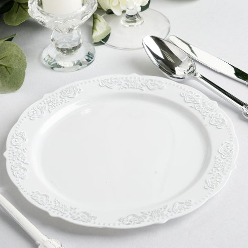 10 Pack | 8 inch Round Silver Embossed Disposable Salad Plates With Scalloped Edges - White/Silver