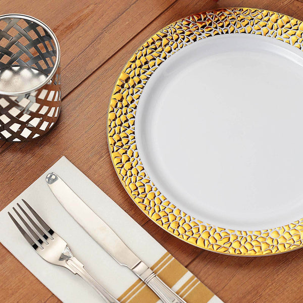 "10 Pack | 10"" White Disposable Plates Round Dinner Plates with Gold Hammered Rim"