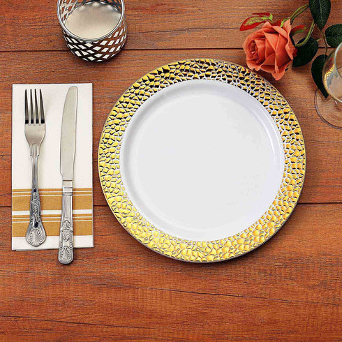 White Round Disposable Plastic Dinner Plates with Hammered Gold Rim