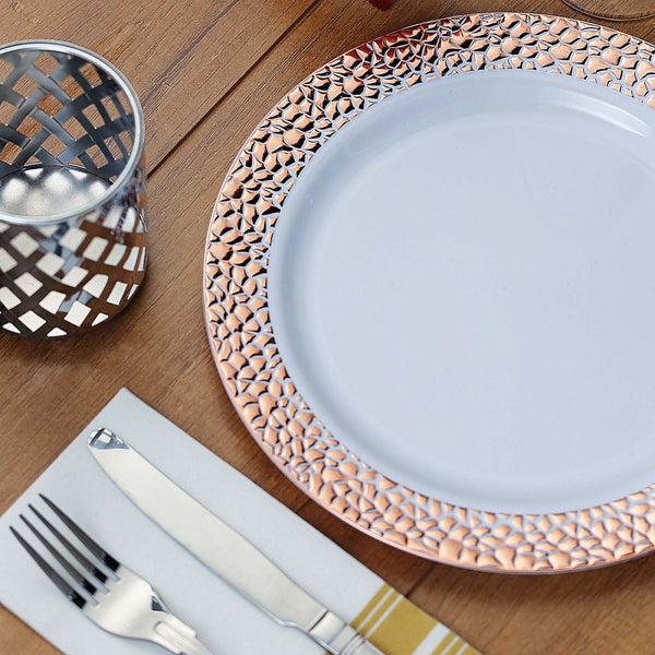 "10 Pack | 10"" White Disposable Plates Round Dinner Plates with Rose Gold Hammered Rim"