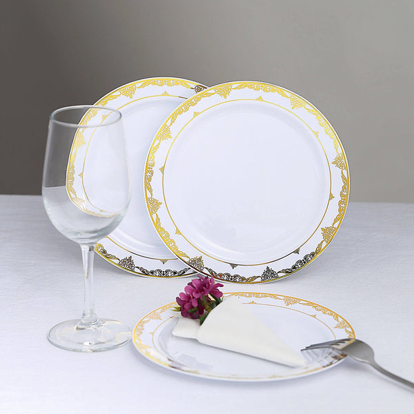 "10 Pack | 10"" White Disposable Plates Round Dinner Plates with Gold Ornate Lace Rim"