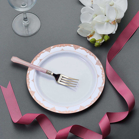 White Round Disposable Plastic Salad Dessert Plates With Rose Gold Ornate Lace Rim