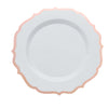 10 Pack | 10 inch White Plastic Ornate Dinner Plates With Hot Stamp Scalloped Rim
