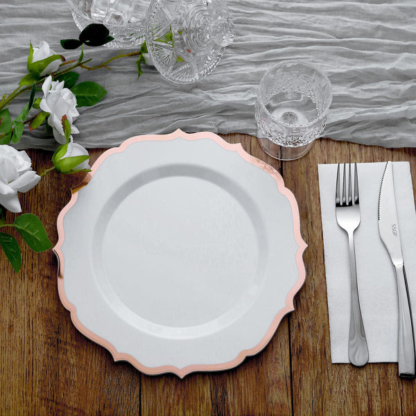 "10 Pack | 10"" White Plastic Ornate Dinner Plates With Hot Stamp Scalloped Rim - Rose Gold 