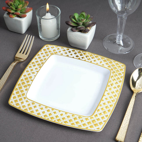 10 Pack | 7 inch | Disposable Square Plates| Salad Dessert Plates | Gold & White | Diamond Rims