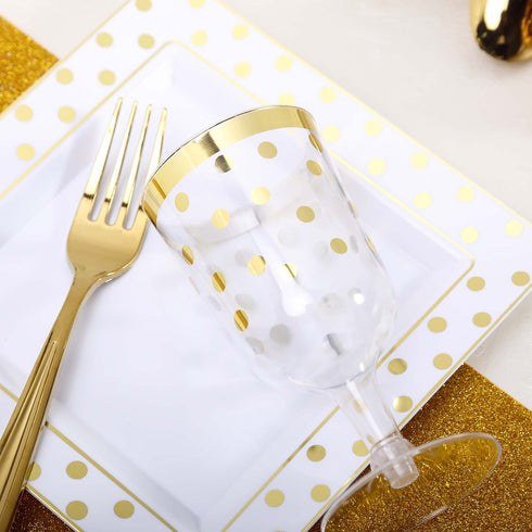 "12 Ct | 7"" Square Disposable Polka Dots Dessert Salad Plates - Gold/White"