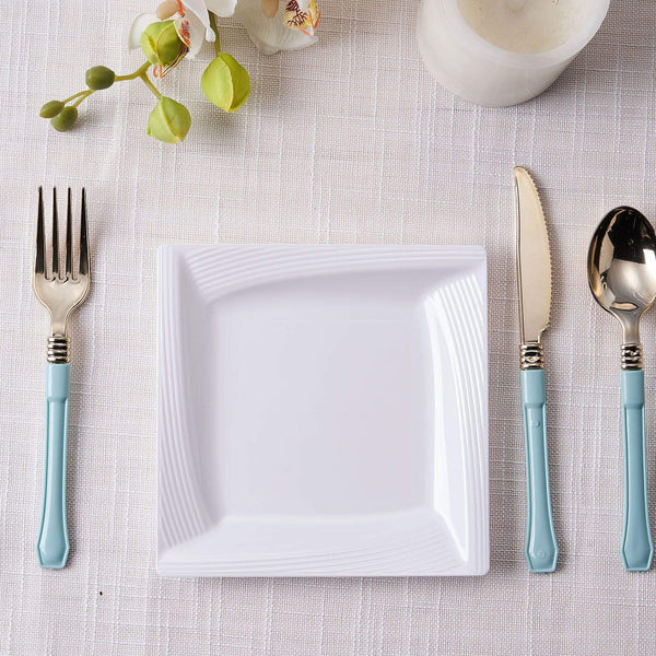 "10 Pack | 6"" Square Disposable Plates White Salad Dessert Plates With Ridge Trim"